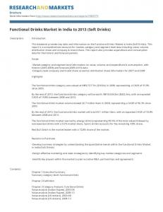 Functional Drinks Market in India to 2013 (Soft Drinks)