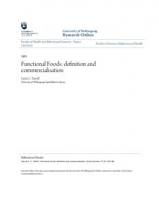 Functional Foods: definition and commercialisation