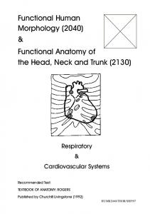 Functional Human Morphology (2040) & Functional Anatomy of the Head, Neck and Trunk (2130)