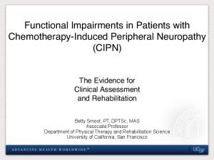 Functional Impairments in Patients with Chemotherapy-Induced Peripheral Neuropathy (CIPN)