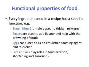 Functional properties of food