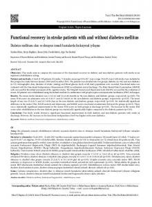 Functional recovery in stroke patients with and without diabetes mellitus