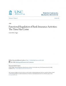 Functional Regulation of Bank Insurance Activities: The Time Has Come