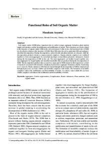 Functional Roles of Soil Organic Matter