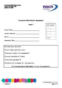 Functional Skills Maths Assessment. Level 1