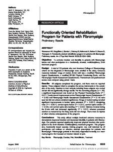 Functionally Oriented Rehabilitation Program for Patients with Fibromyalgia Preliminary Results