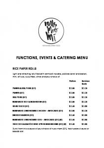 FUNCTIONS, EVENTS & CATERING MENU
