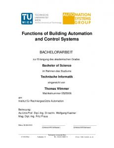 Functions of Building Automation and Control Systems