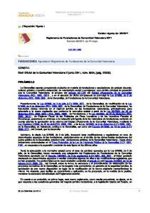 FUNDACIONES. Aprueba el Reglamento de Fundaciones de la Comunitat Valenciana