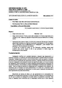 Fundamentación UNIVERSIDAD NACIONAL DE CUYO FACULTAD DE FILOSOFÍA Y LETRAS