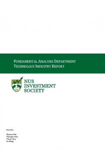 FUNDAMENTAL ANALYSIS DEPARTMENT TECHNOLOGY INDUSTRY REPORT