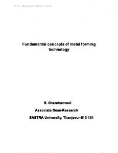 Fundamental concepts of metal forming technology