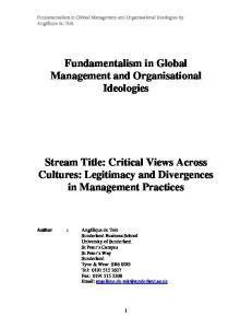 Fundamentalism in Global Management and Organisational Ideologies