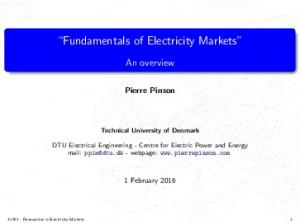 Fundamentals of Electricity Markets