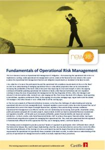 Fundamentals of Operational Risk Management