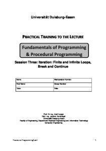 Fundamentals of Programming & Procedural Programming