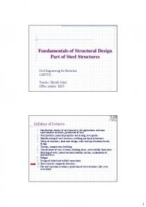 Fundamentals of Structural Design Part of Steel Structures