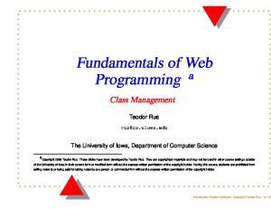 Fundamentals of Web Programming a