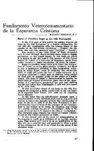 Fundamento Veterotestamentario de Ia Esperanza Cristiana
