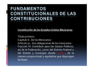 FUNDAMENTOS CONSTITUCIONALES DE LAS CONTRIBUCIONES