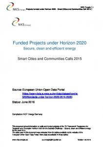 Funded Projects under Horizon 2020