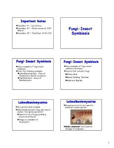 Fungi-Insect Symbiosis. Fungi-Insect Symbiosis. Important Dates. Fungi-Insect Symbiosis