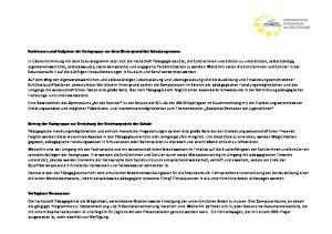 Funktionen und Aufgaben der Fachgruppe vor dem Hintergrund des Schulprogramms