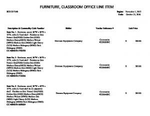FURNITURE, CLASSROOM OFFICE LINE ITEM