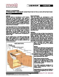 FURNITURE LABORATORY WOOD CASEWORK INTRODUCTION - CASEWORK CONSTRUCTION DETAILS AND SPECIFICATIONS. Overview