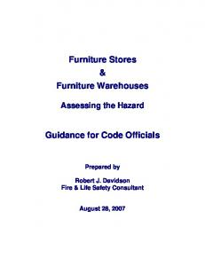 Furniture Stores & Furniture Warehouses. Guidance for Code Officials