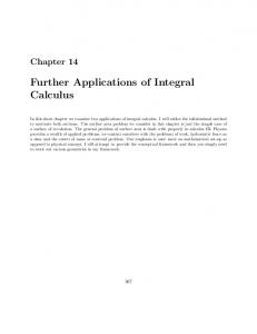 Further Applications of Integral Calculus