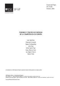 FUSIONES Y POLITICA DE DEFENSA DE LA COMPETENCIA EN EUROPA