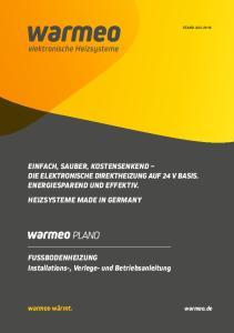 FUSSBODENHEIZUNG Installations-, Verlege- und Betriebsanleitung
