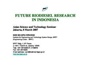 FUTURE BIODIESEL RESEARCH IN INDONESIA