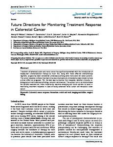 Future Directions for Monitoring Treatment Response in Colorectal Cancer