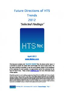Future Directions of HTS Trends 2012