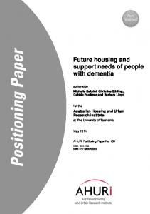 Future housing and support needs of people with dementia