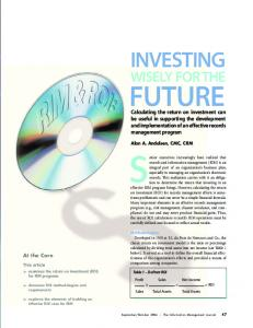 FUTURE INVESTING WISELY FOR THE