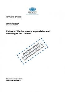 Future of the insurance supervision and challenges for Ireland