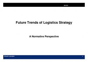 Future Trends of Logistics Strategy