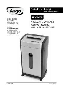 FX418D Wallner shredders. instruction manual