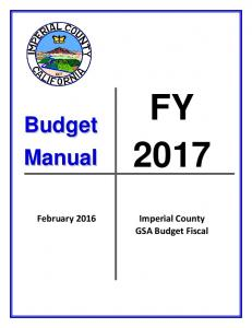 FY February Imperial County GSA Budget Fiscal