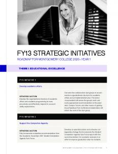 FY13 STRATEGIC INITIATIVES ROADMAP FOR MONTGOMERY COLLEGE 2020 YEAR 1
