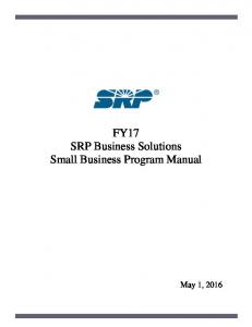 FY17 SRP Business Solutions Small Business Program Manual