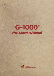 G-1000 Wax Master Manual
