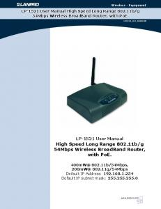 g 54Mbps Wireless BroadBand Router, with PoE