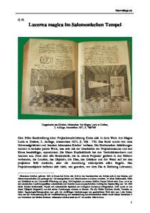 G. H. Lucerna magica im Salomonischen Tempel