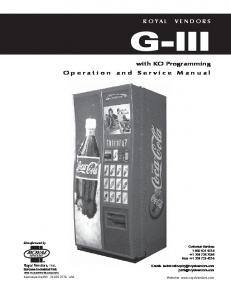G-III. with KO Programming Operation and Service Manual. GIII Service and Parts Manual. Manufactured by