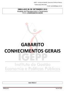 GABARITO CONHECIMENTOS GERAIS