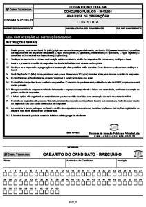 GABARITO DO CANDIDATO - RASCUNHO